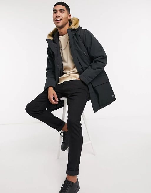Levi's woodside long utility hooded parka jacket in jet black