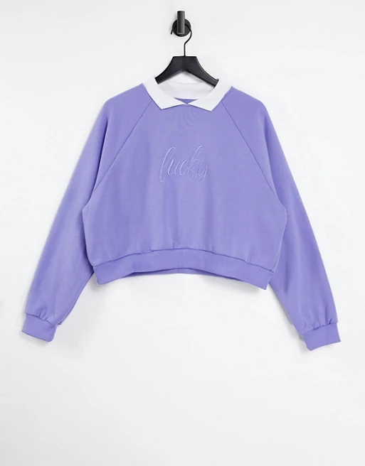 Local Heroes relaxed sweatshirt with collar with lucky embroidered graphic