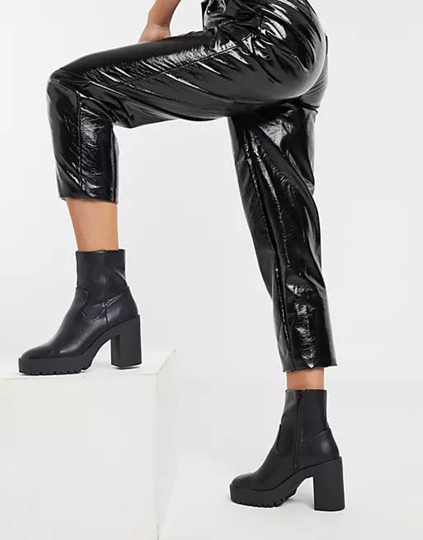 London Rebel chunky platform ankle boots in black