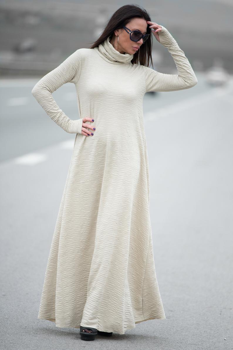 Loose Maxi Dress, Turtleneck Dress, Abaya Dress, Long Sleeve Dress, Minimalist Clothing, Casual Dress, Plus Size Dress, White DR0154CK