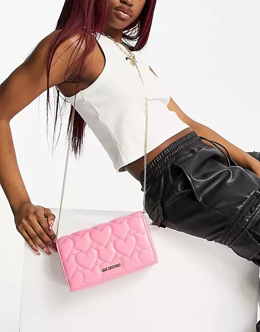 Love Moschino heart quilted crossbody bag in pink