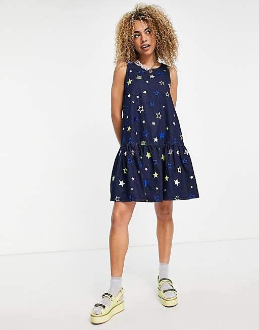 Love Moschino star printed smock dress