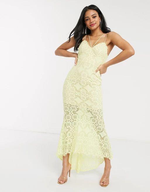 Love Triangle lace fishtail maxi dress in lemon