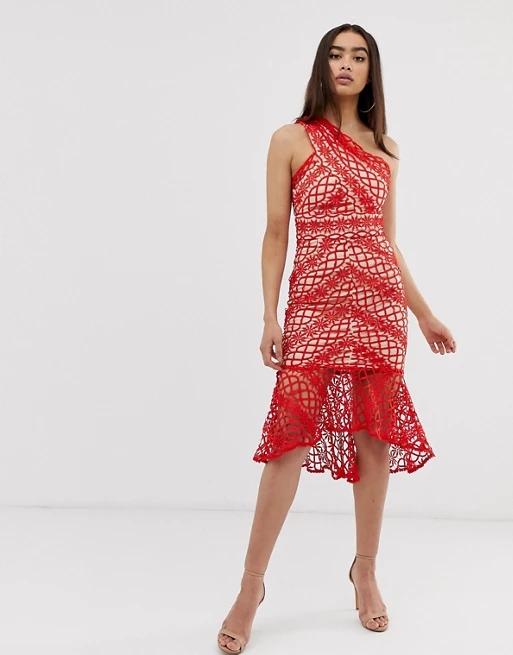 Love Triangle lace one shoulder midi dress