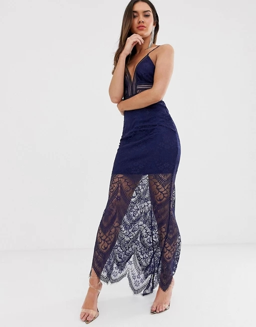 Love Triangle plunge front maxi dress with eyelash lace train in navy