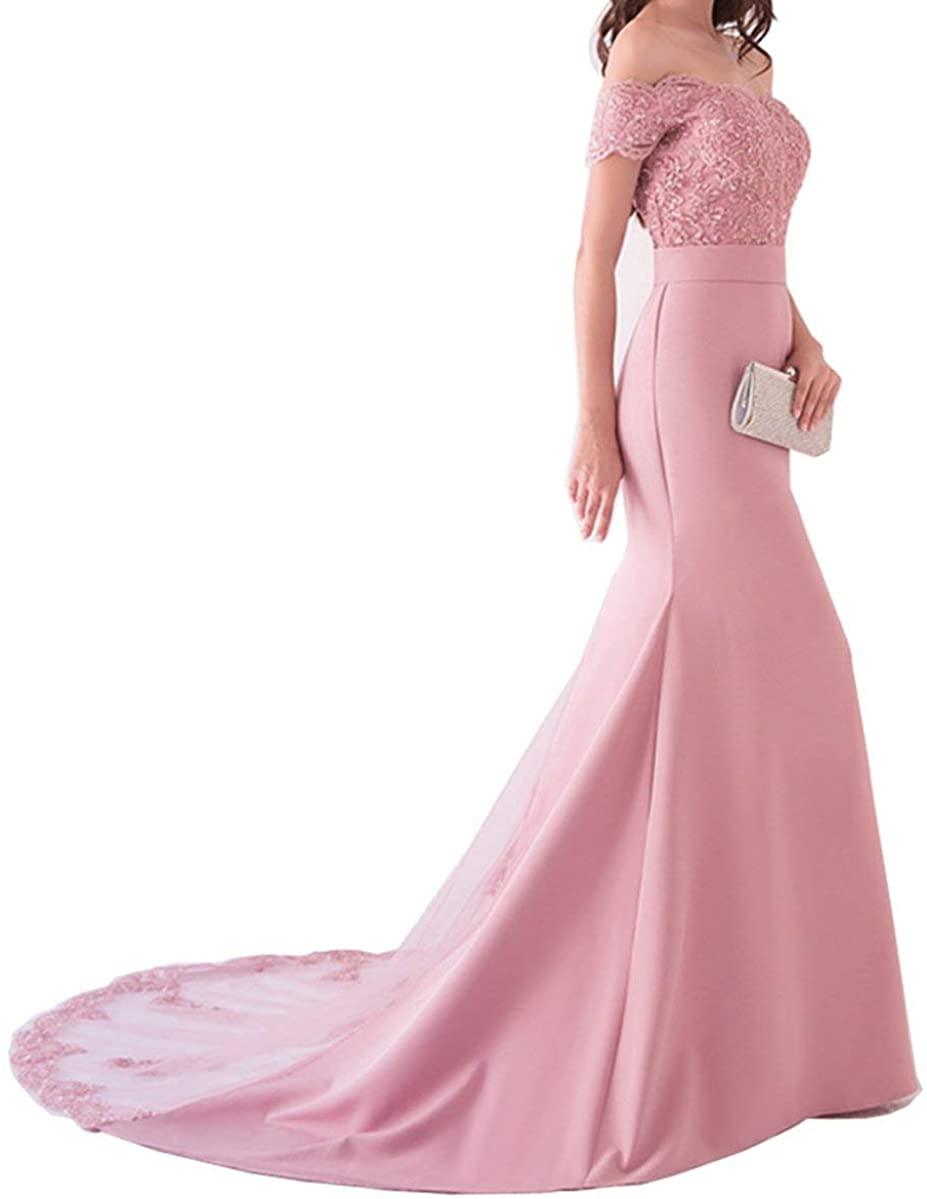 LoveeToo Women's Mermaid Lace Formal Evening Dress Off Shoulder