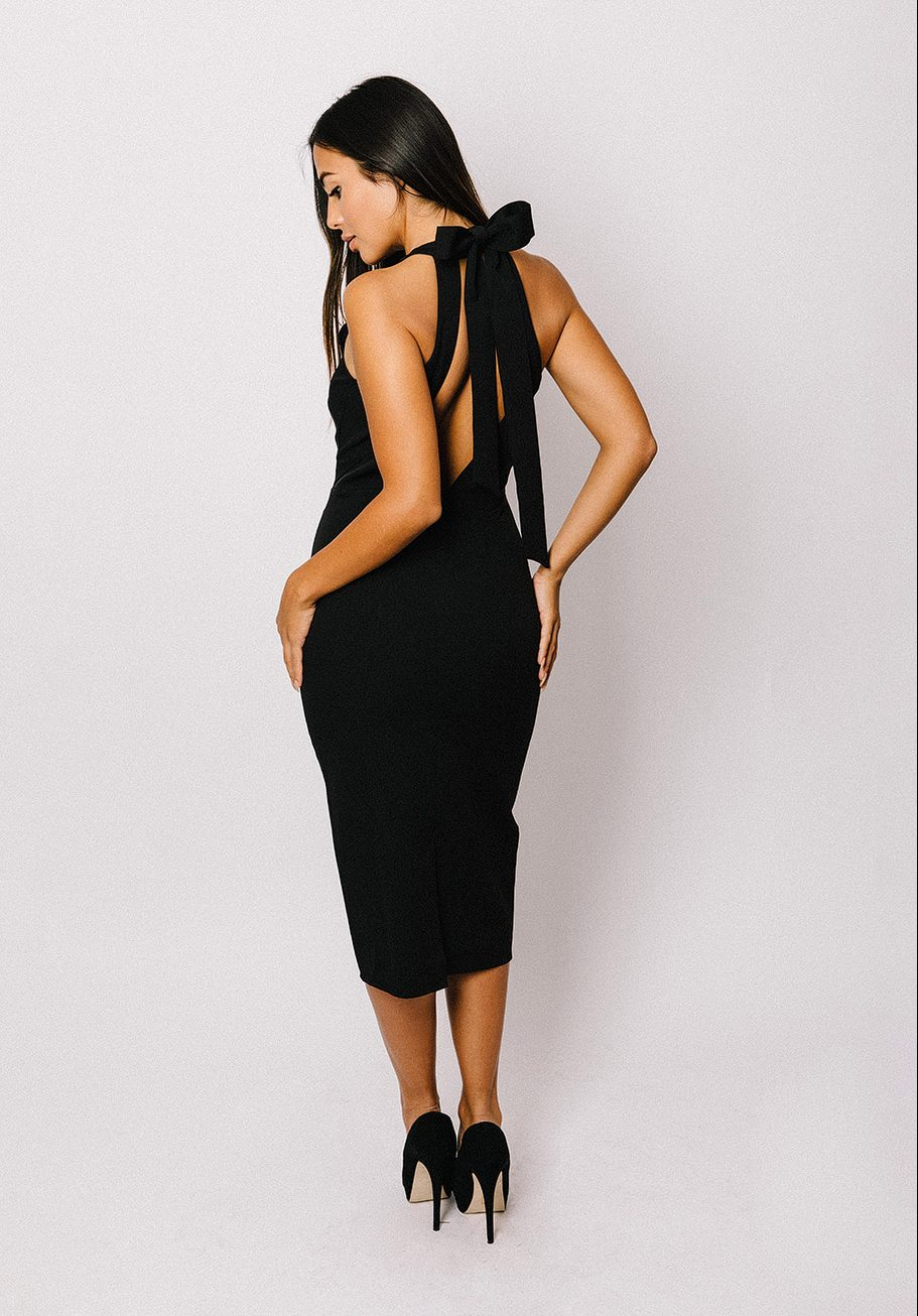 MAYA – Black Black Bow Back Midi Dress