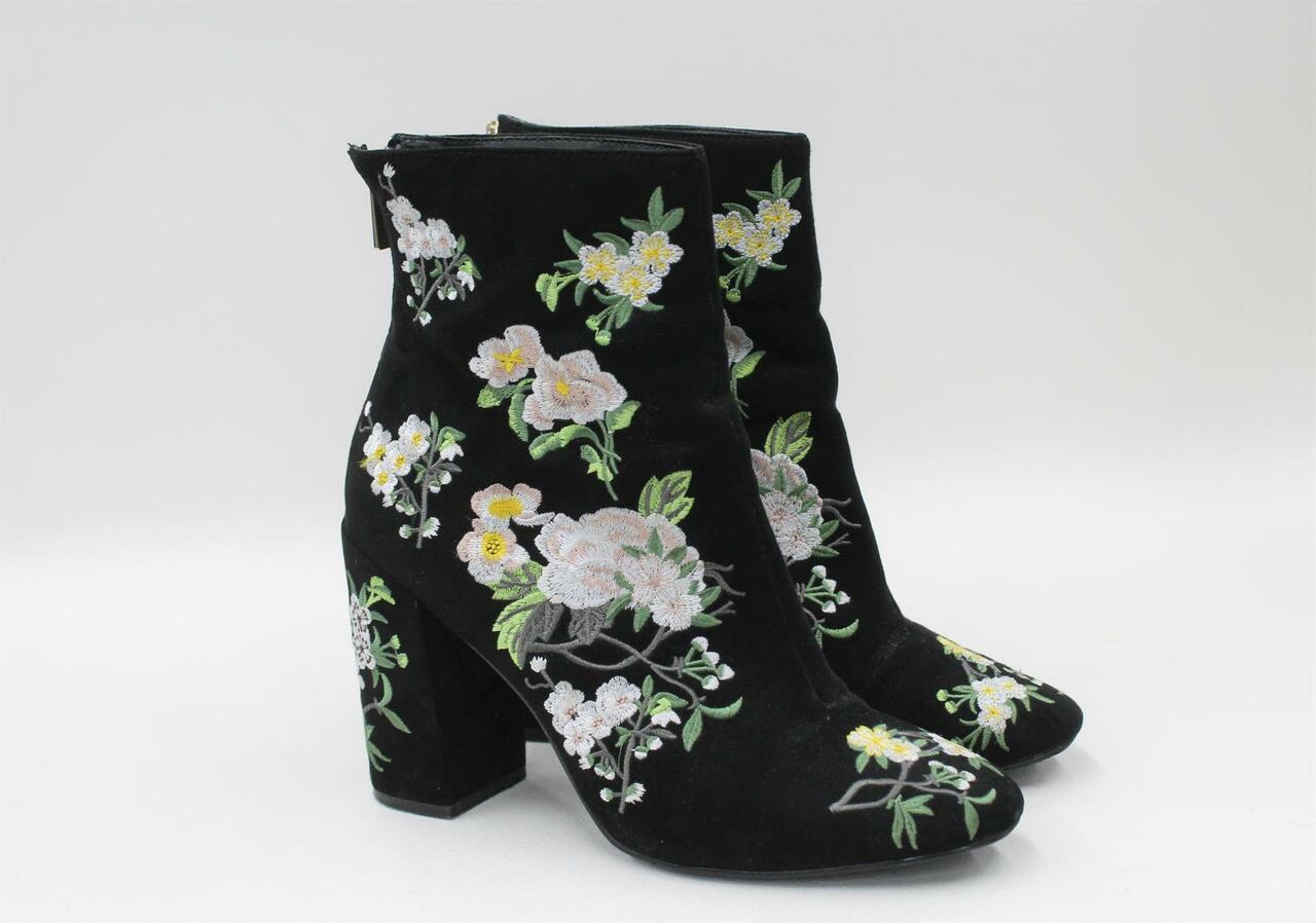 MISS SELFRIDGE Ladies Black Embroidered Floral Block Heel Ankle Boots UK5 EU38