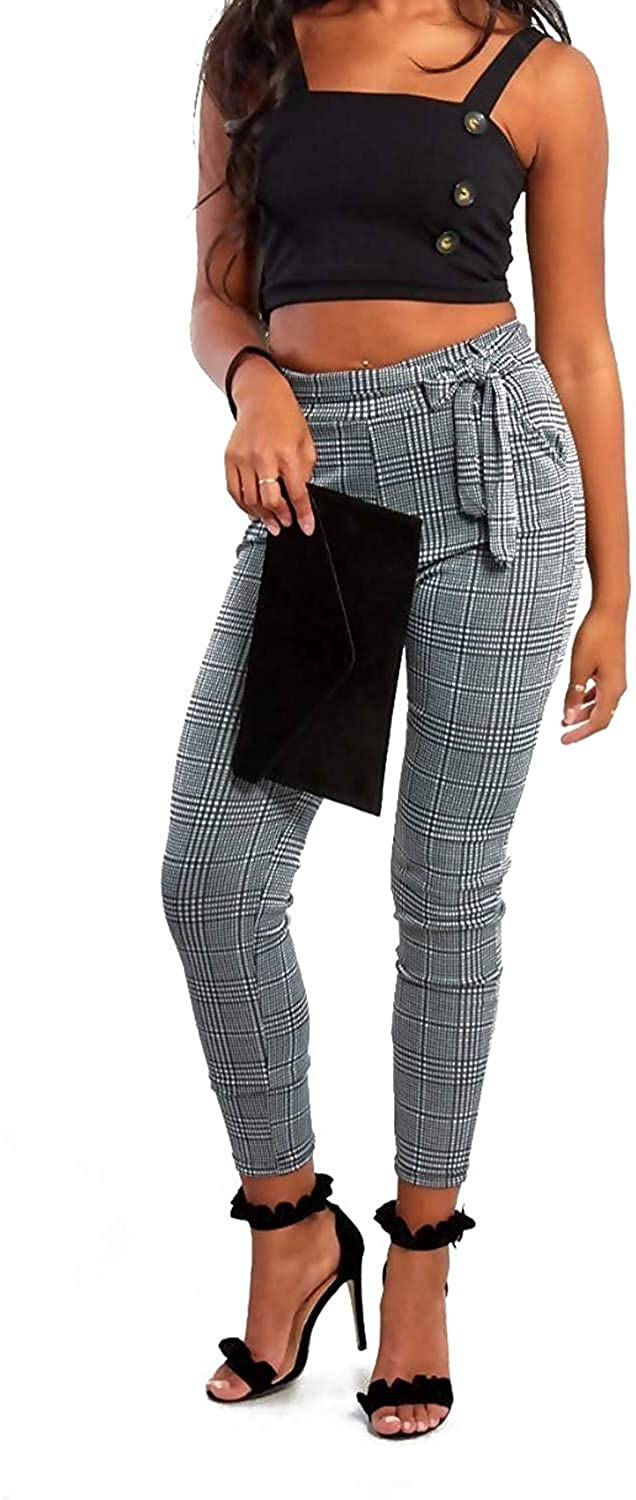 MIXLOT New Womens Ladies Sexy Gingham Check Belted Trousers Ladies High Waist Leggings Causal Fit Pants Trouser