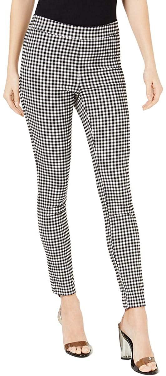 Maison Jules Womens Gingham Mid-Rise Skinny Pants B/W US XXS
