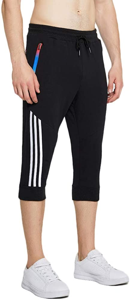 MakingDa Mens Slim Lounge Sport Pants with Gradient Zipper Pockets Drawstring Beam Feet Cropped Trousers Jogging Bottoms Sweatpants Casual Running Outdoor