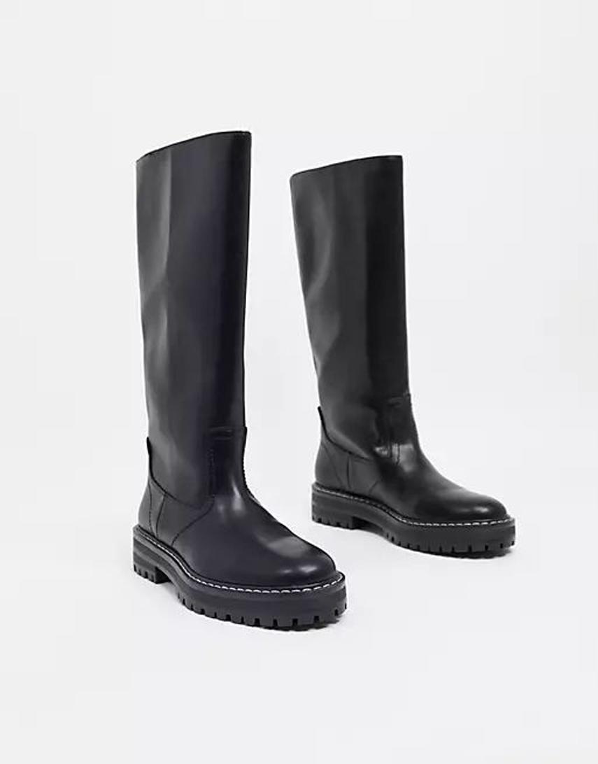 Mango straight high leg flat boot in black