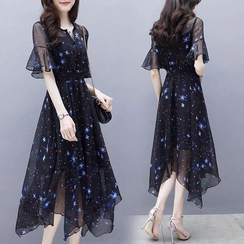 Manubeau Elegant Chiffon Women Long Dress Star Print Summer Black Sexy V-neck Maxi Dress Evening Party Female Dress Vestidos
