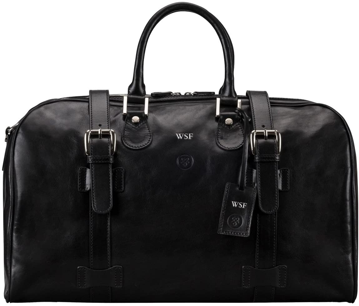 Maxwell Scott Personalised Classic Leather Travel Bag