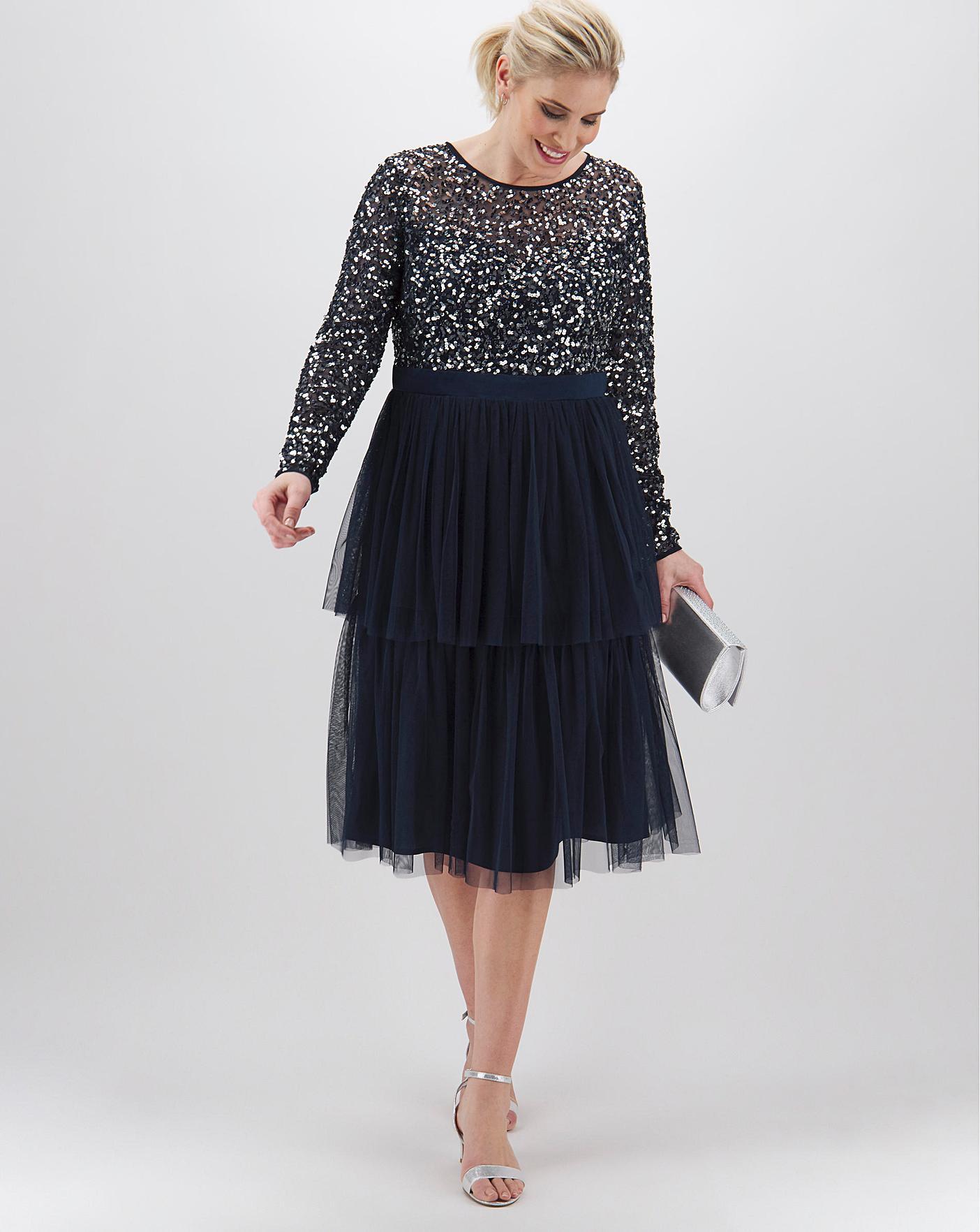 Maya Curve Tiered Sequin Midi Dress