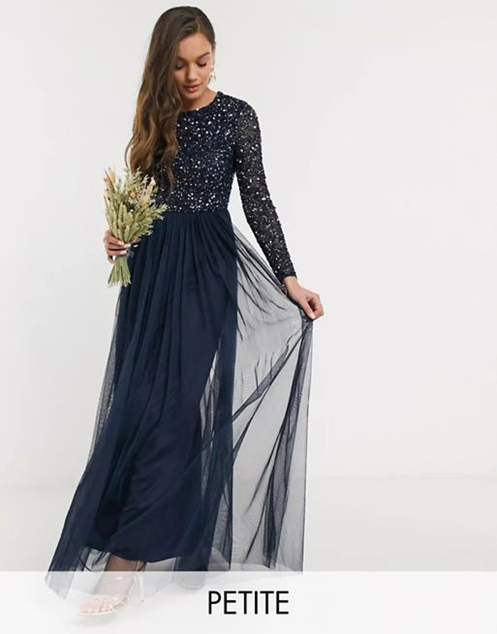 Maya Petite Bridesmaid long sleeve maxi tulle dress with tonal delicate sequin in navy