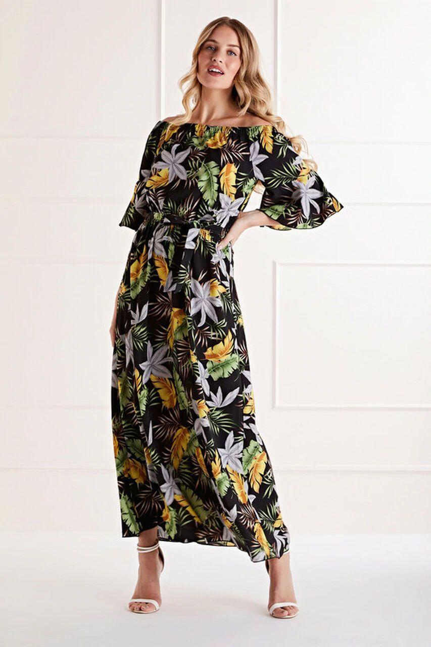 Mela Black Bardot Printed Maxi Dress
