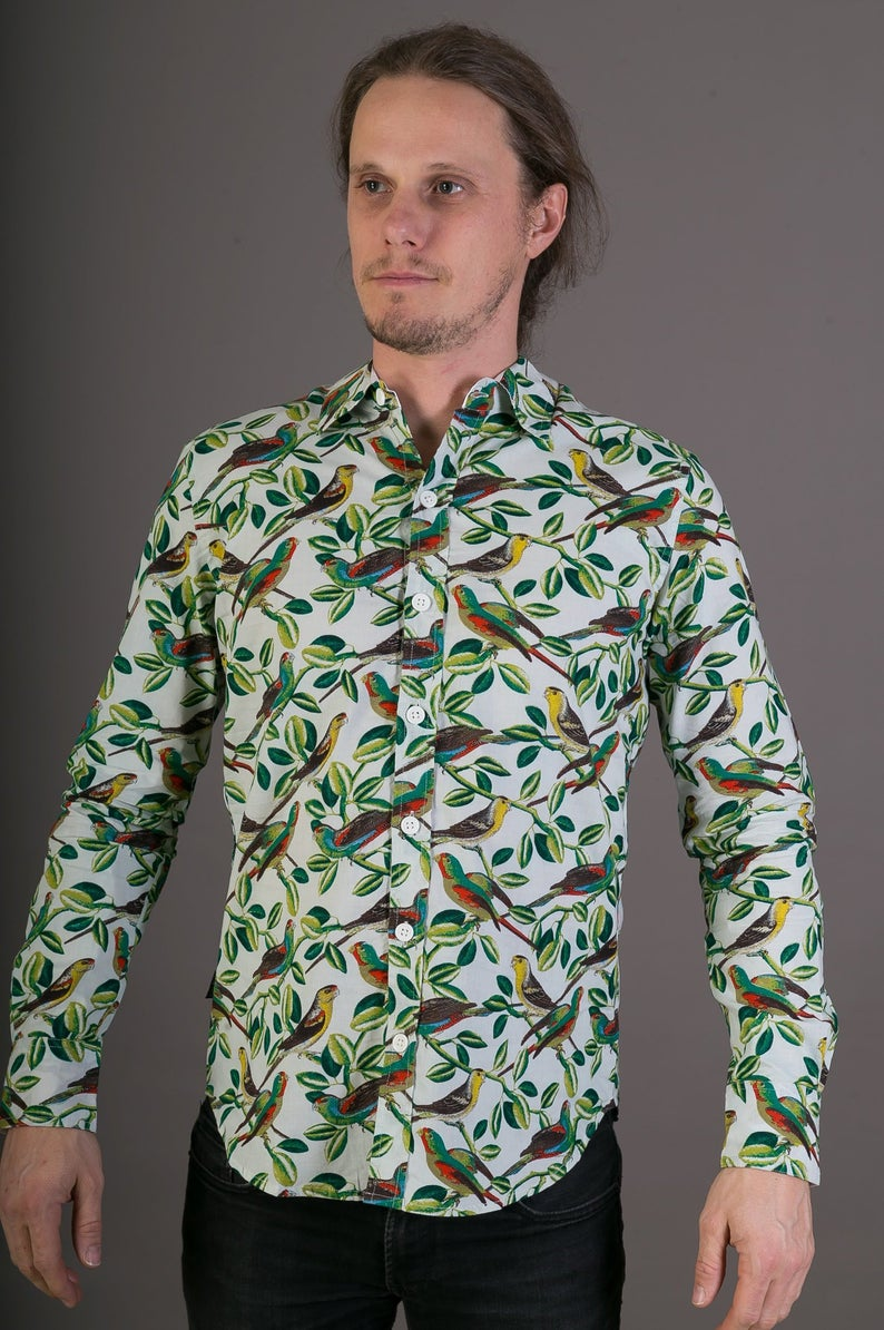 Mens 100% Cotton Long Sleeve Slim Fit Shirt Birds Floral White Green Print