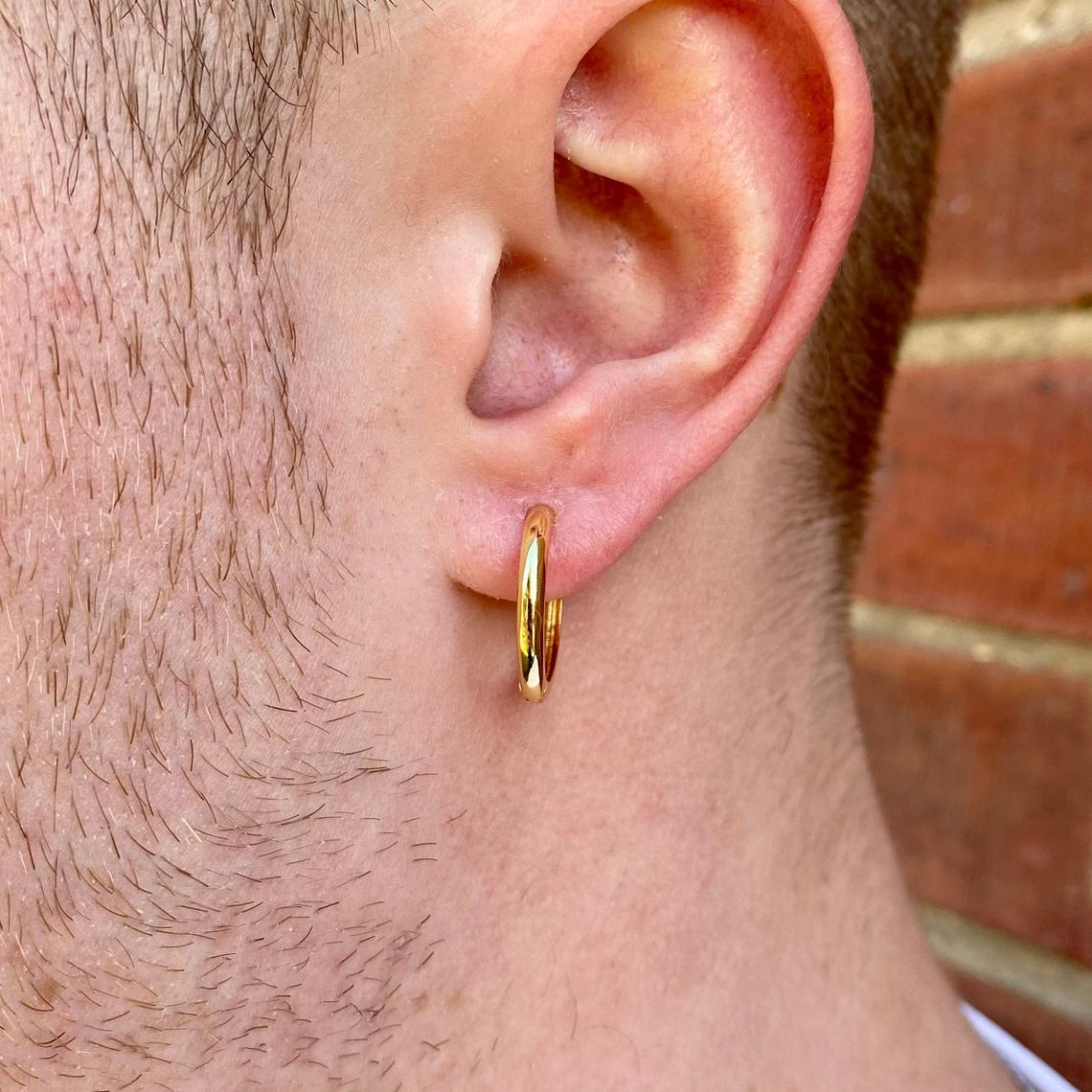 Mens Hoop Earrings - 18k Gold 925 Sterling Silver 18mm Mens Hoop Earrings - Hoops for Men - Earring Sets, Mini 18K Gold Hoops Huggie Earring