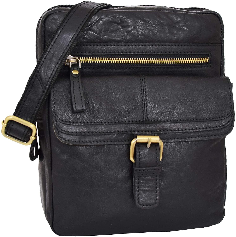 Mens Real Leather Cross Body Organiser Bag