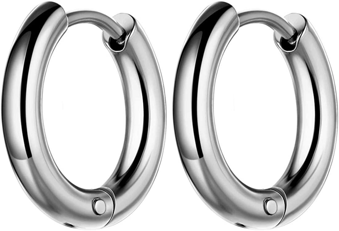 Mens Steel Hoop Earrings - 316L Stainless Steel Men Fashion 10/14/18mm Wide Hoops Earring 18k Gold/Black Gun Plated Hip-hop Streetwear Jewelry SE0005