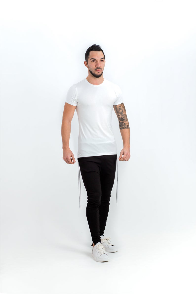 Men's tight sweatpants / Skinny fit pants for men / Minimalist casual leggings / Black meggings / Streetwear tight black pants