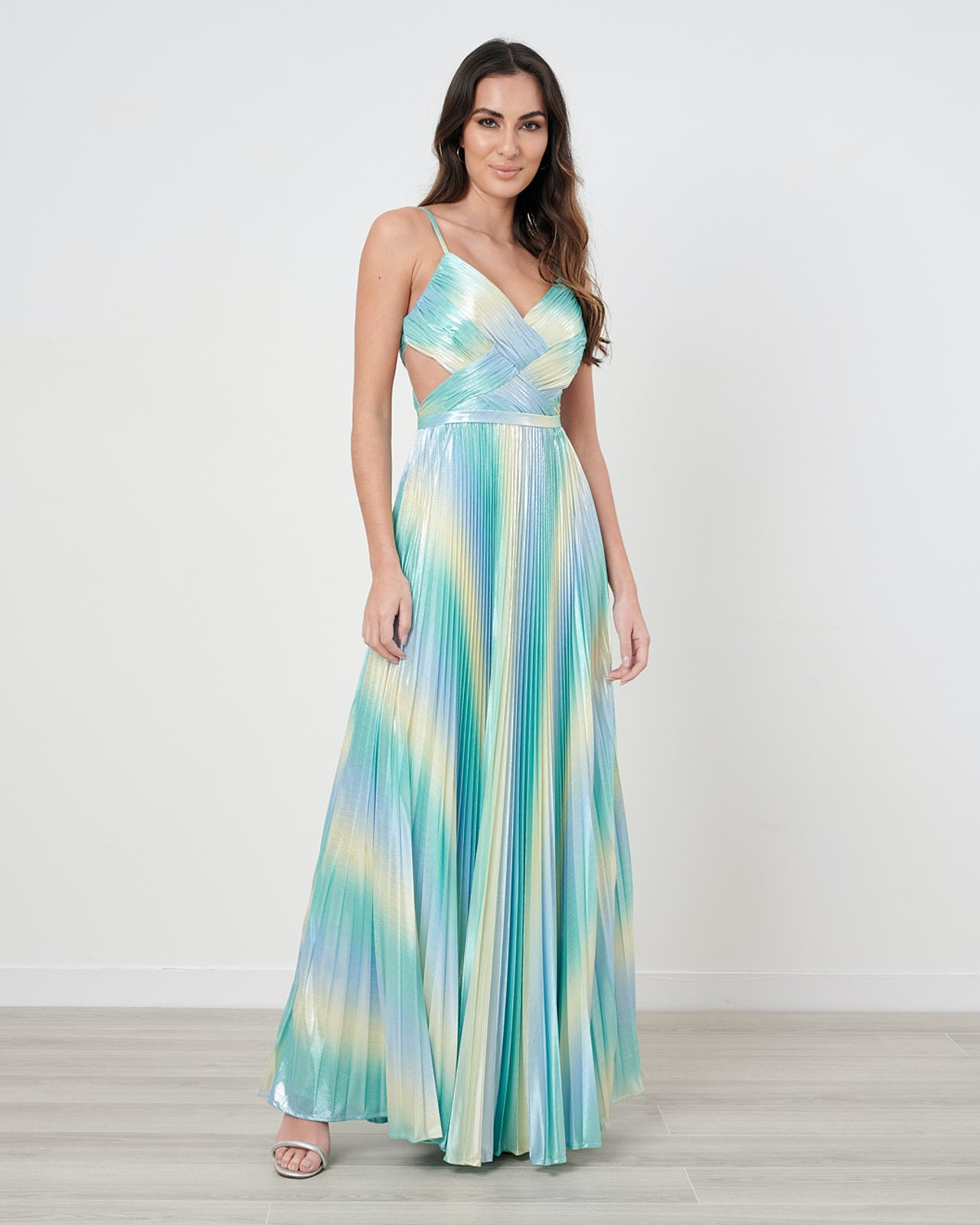 Metallic Turquoise And Lime Pleated Maxi Dress With Cut-Out Detail
