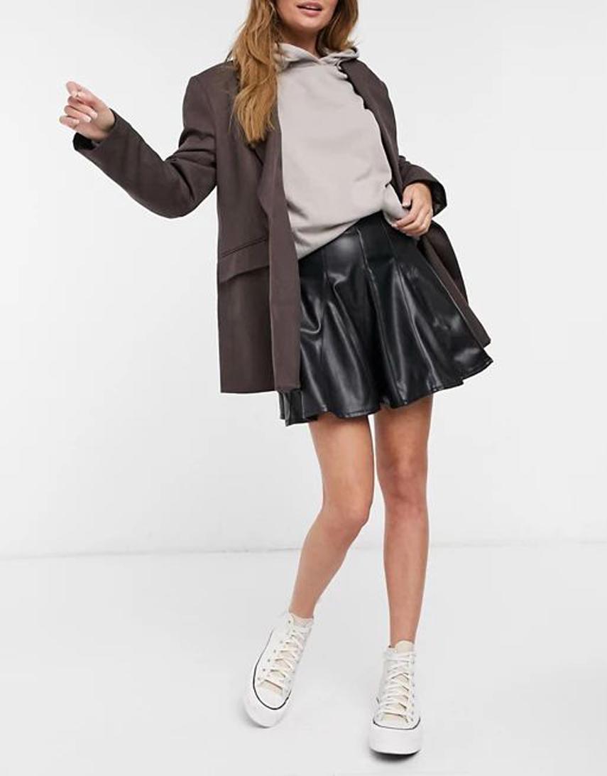 Miss Selfridge faux leather skater skirt in black