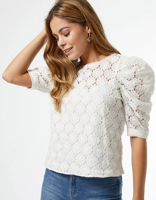 Miss Selfridge lace blouse with puff sleeves in white