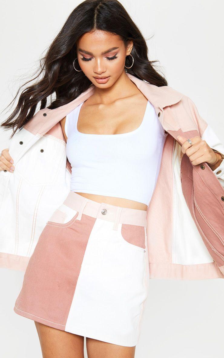 Multi Colour Block Denim Skirt