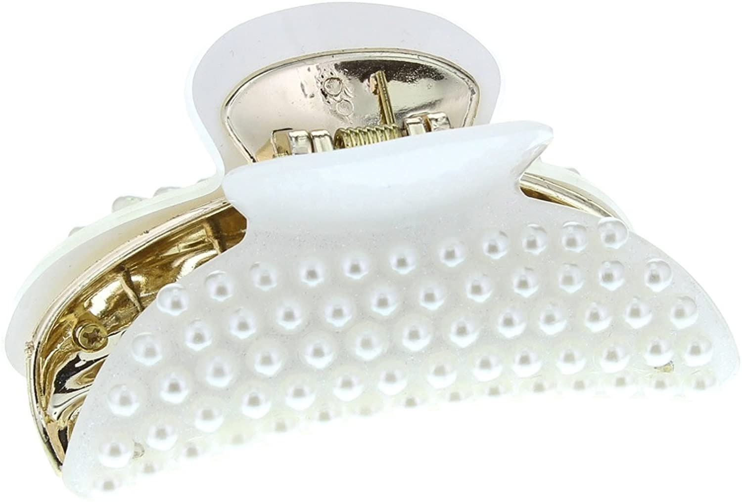 Mytoptrendz® Hair Claip Claws Clamp Jaw Grip White Simulated Pearl Glitter Embellished