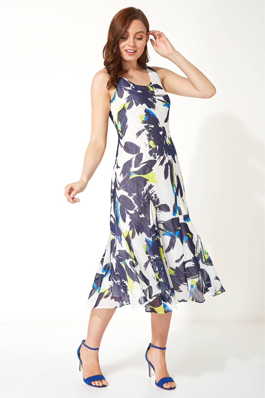 Navy Floral Bias Cut Midi Dress