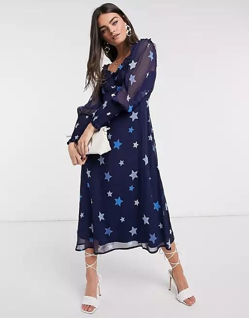 Neon Rose midi dress with sweetheart neckline in tonal star print