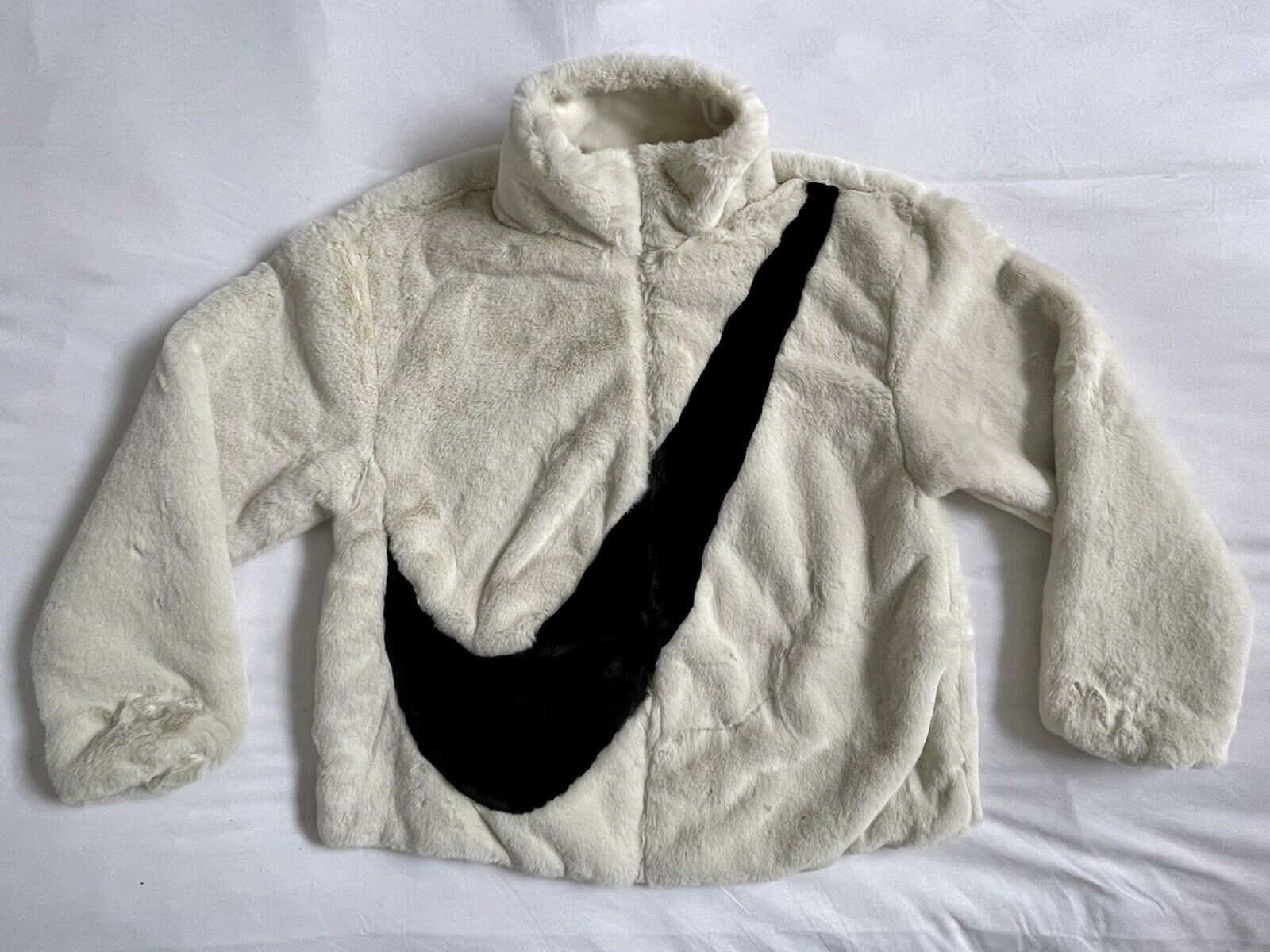 Nike Faux Fur Jacket Fossil Black