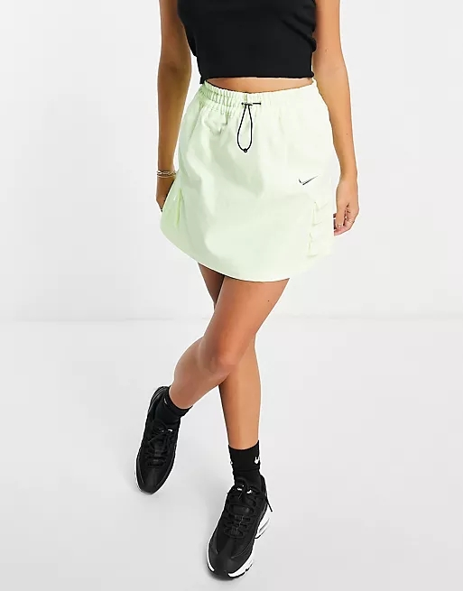 Nike Swoosh woven skirt in neon yellow with utility pockets