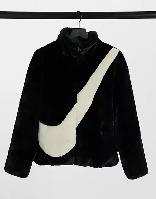 Nike faux fur oversized swoosh jacket in black