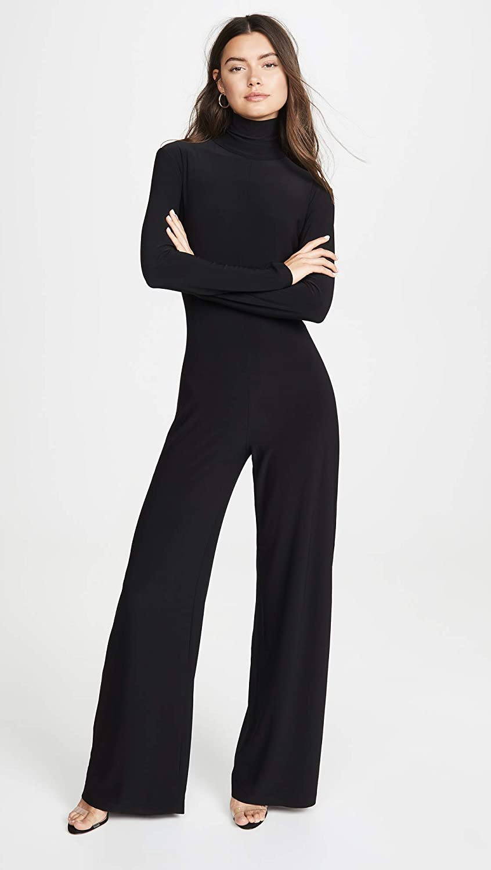 Norma Kamali Women's Long Sleeve Turtleneck Jumpsuit