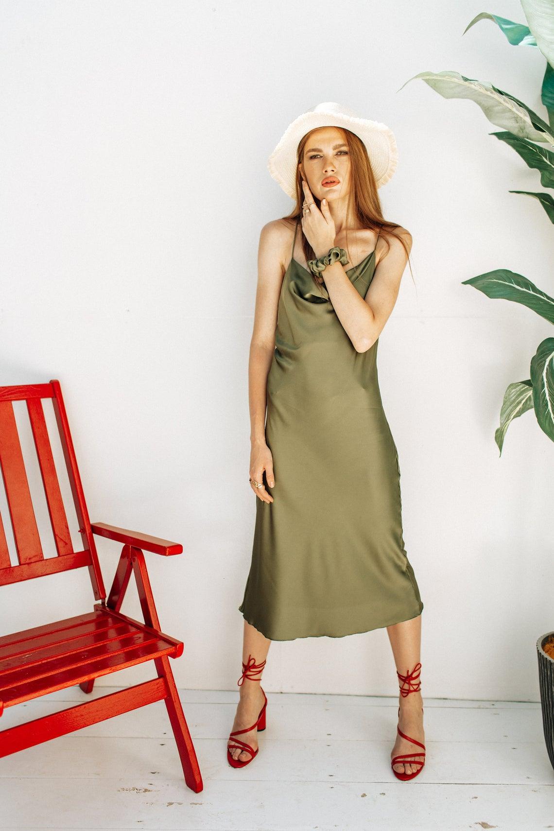 Olive Silk Slip Dress Cowl Neck Silk slip midi dress Bias Cut Dress bridesmaid dress slip prom dress date dress