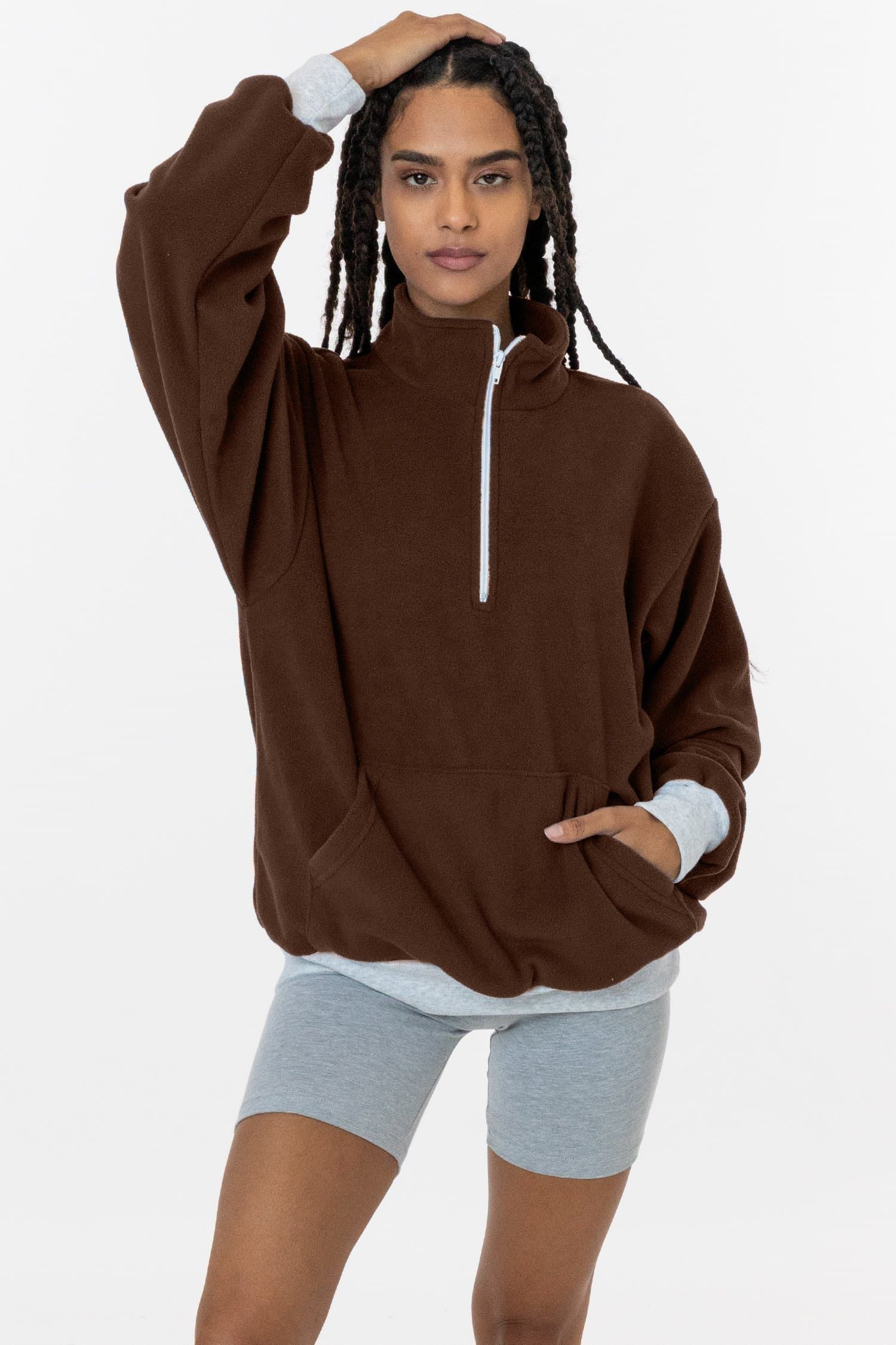 PF408 - Polar Fleece Half Zip Pullover - Brown _ XL