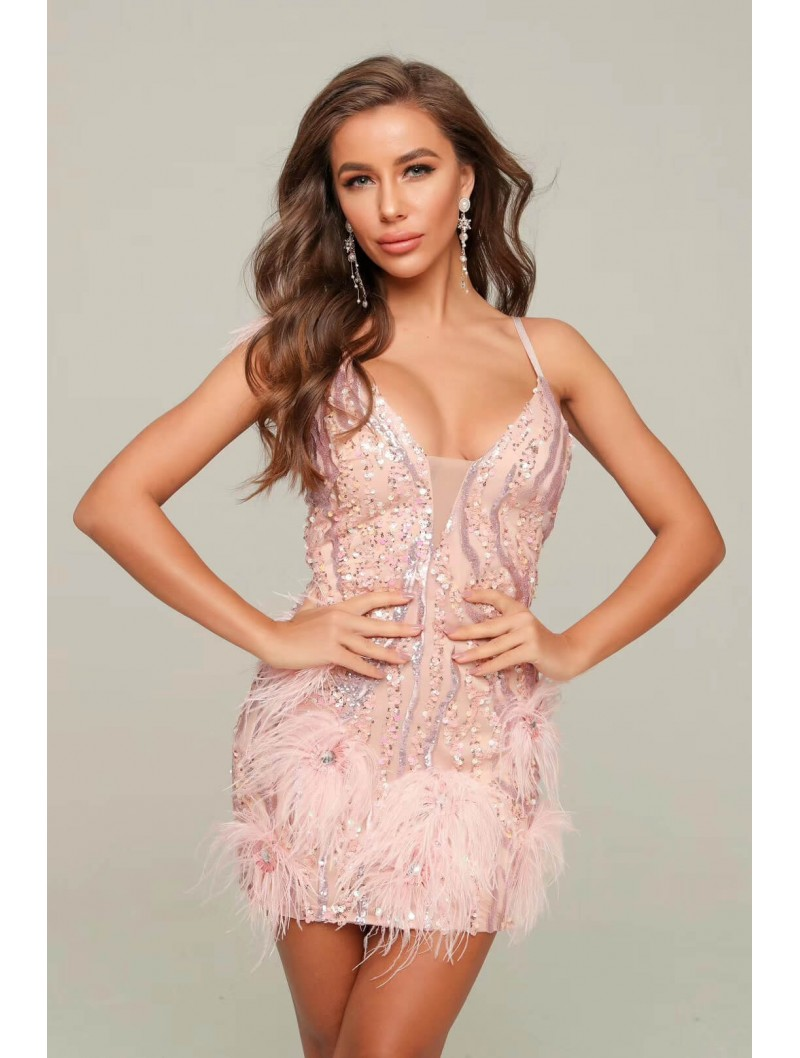PINK FEATHER STRAPLESS DRESS