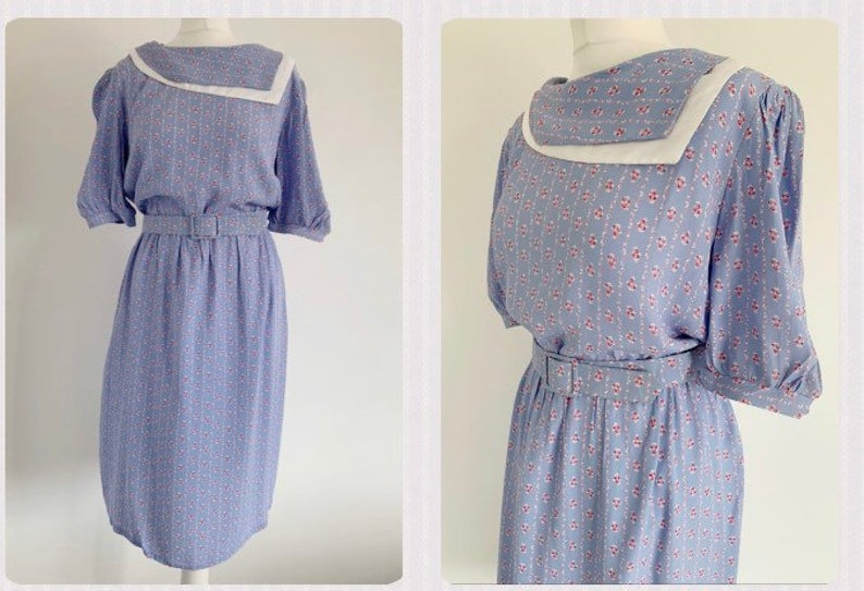 PRAIRIE COLONIAL 80s Dress ~ Size UK 12 14 Medium ~ British ~ Pale Blue/Violet Cute Ditsy Viscose Floral Belted Midi True Vintage Dress