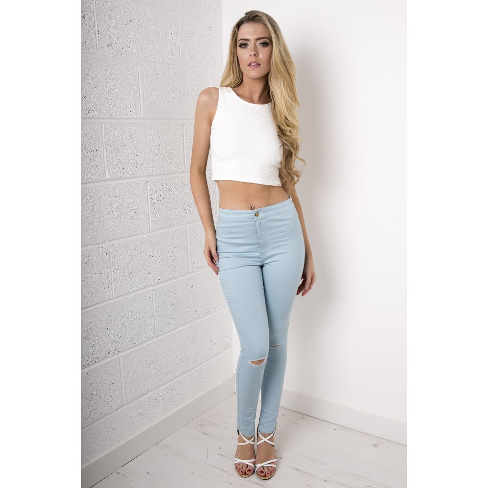 Pastel Blue Ripped Skinny Jeans