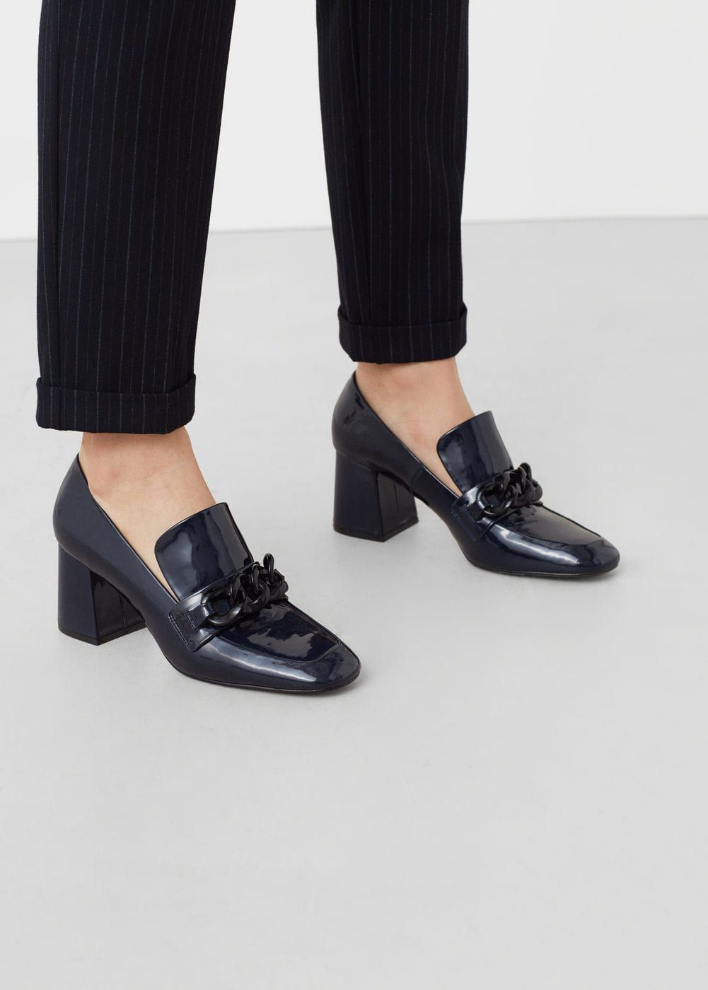 Patent heeled loafers