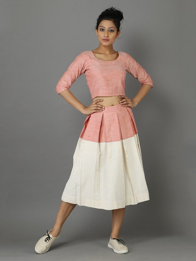 Peach Off White Cotton Solk Top with Skirt