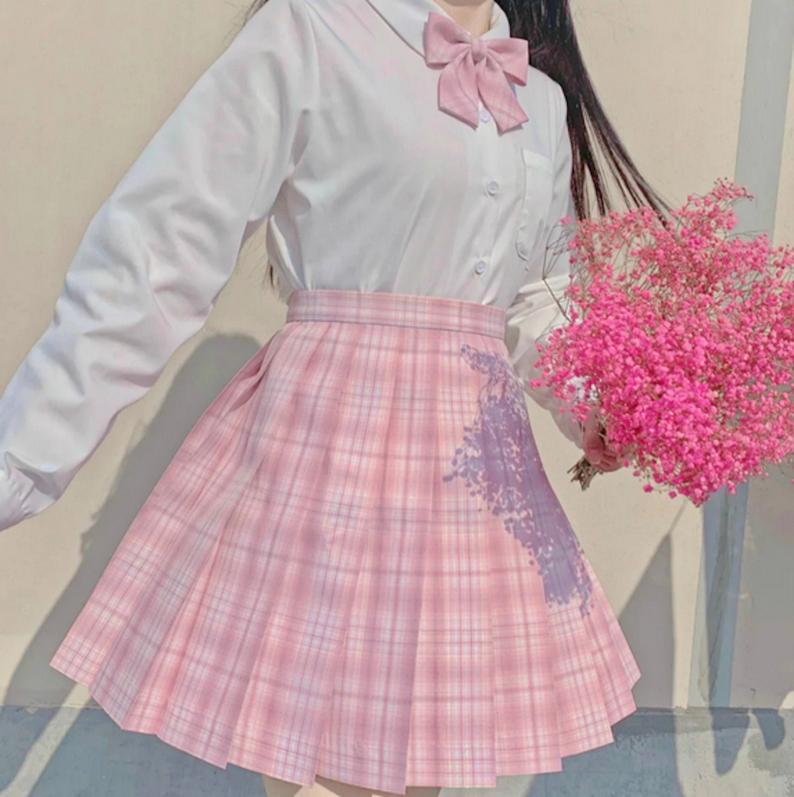 Pink Blossom Harajuku Preppy School Uniform Plaid Pleated School Summer Skirt