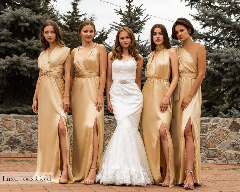 Pink Multiway Bridesmaid Wrap Dress • Luxurious Gift for Her • Long Silk Infinity Transformer • Sexy Plus Size Satin Convertible Prom Gown