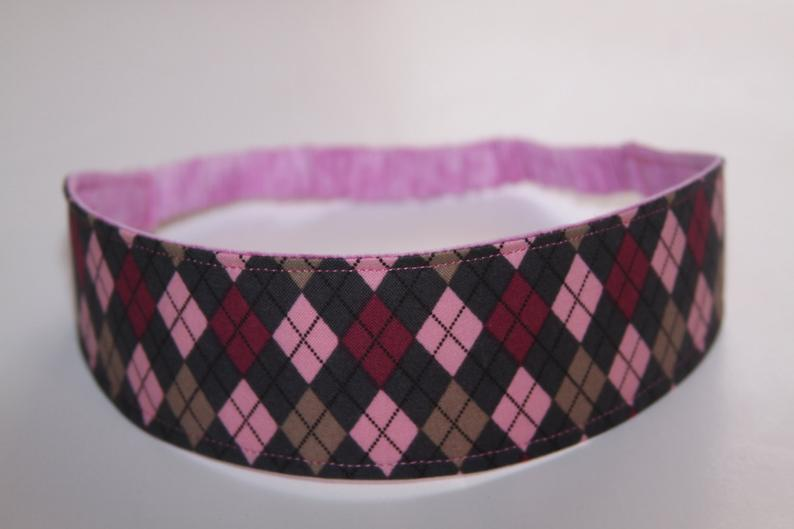 Pink and Grey Argyle Reversible Headband