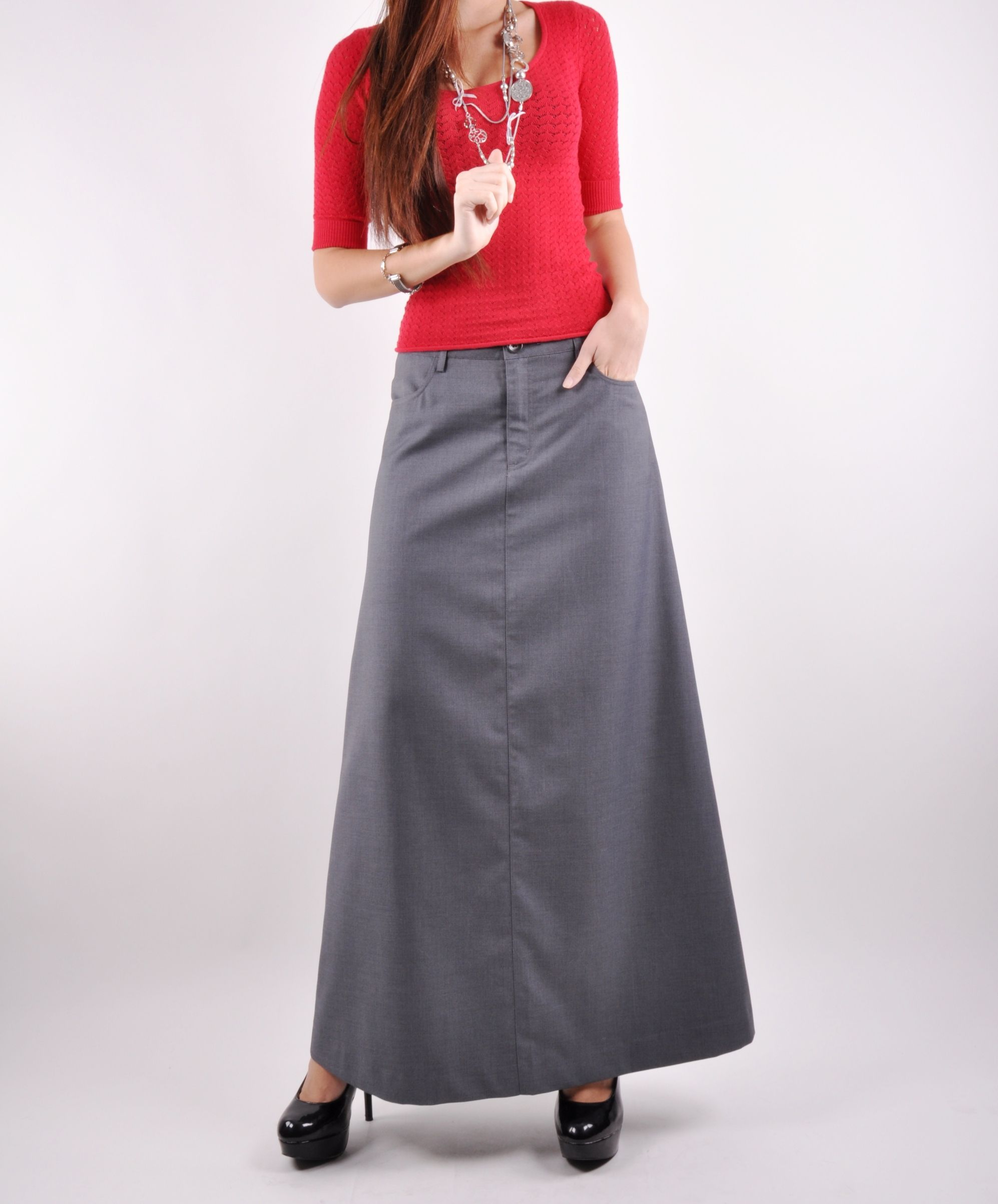 Plain Gray Long Skirt