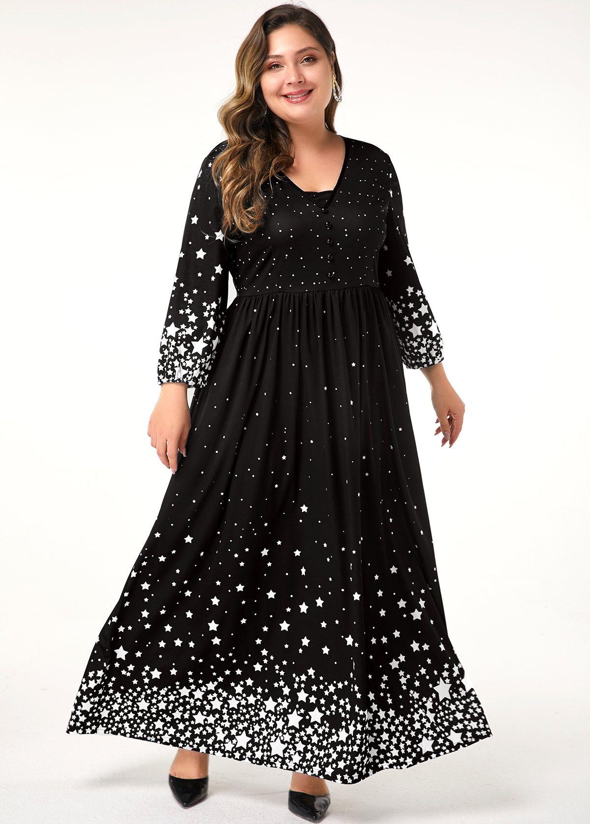 Plus Size High Waist Long Sleeve Star Print Maxi Dress