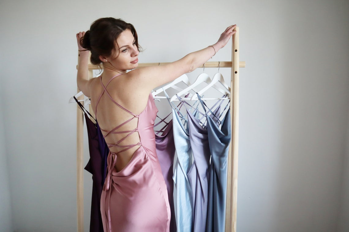 Powder silk slip dress cowl neck Rose pink midi dress bare shoulders and open back Dress for bridesmaid Satin dress for special occasions